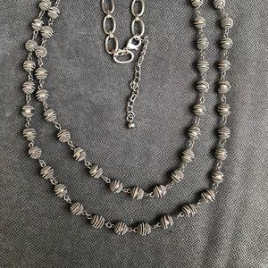 Chico's Long 2-strand Silver-tone bead necklace